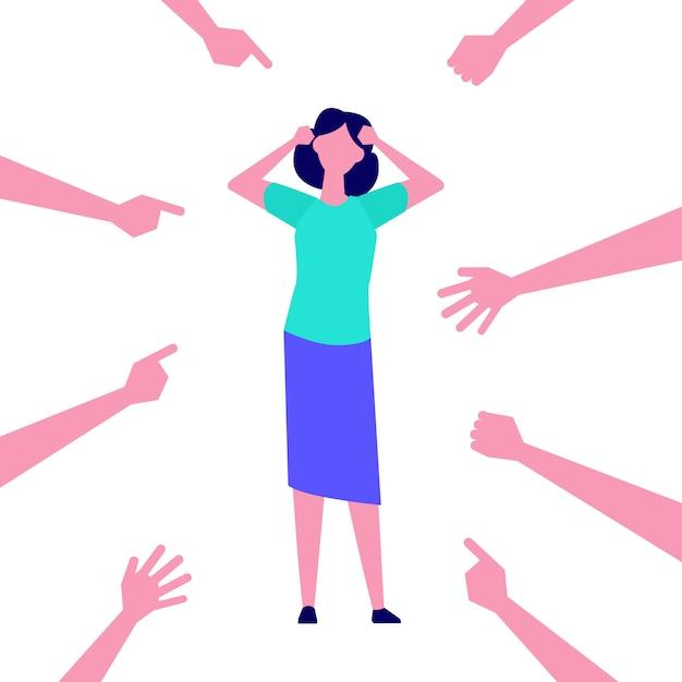 Ragazza depressa, frustrata. donne vittima, dipendente di bullismo, accusa. illustrazione. Vettore Premium