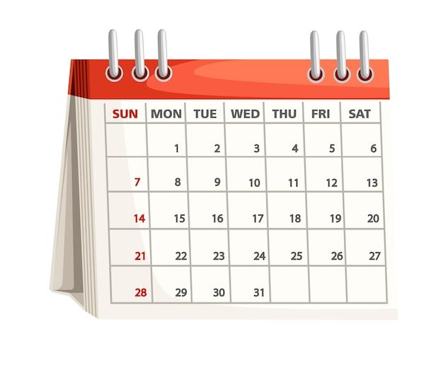 Calendario desc. . illustrazione su sfondo bianco. Vettore Premium