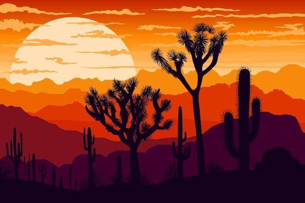 Sfondo paesaggio desertico per videoconferenze Vettore Premium