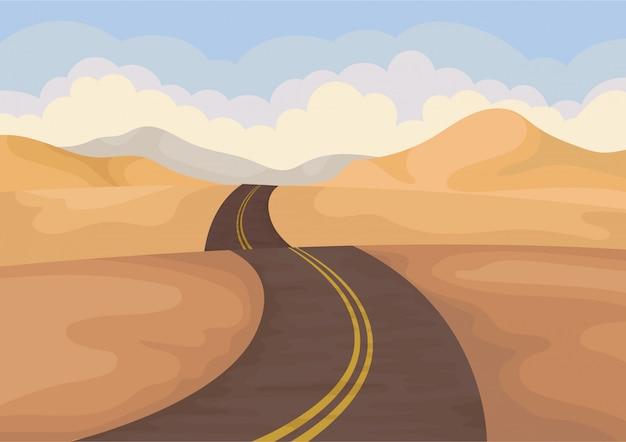 Paesaggio desertico con strada asfaltata. valle con colline di sabbia e cielo blu. Vettore Premium