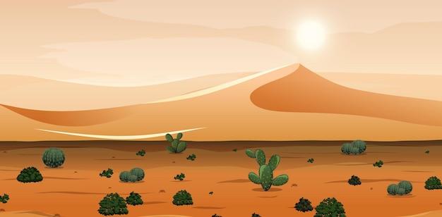 Deserto con montagne di sabbia e paesaggio di cactus alla scena del giorno Vettore Premium