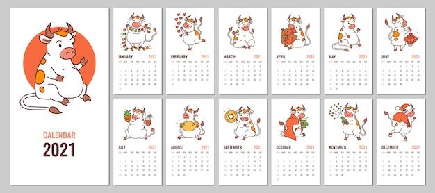 Template Calendario 2021 Bambini Progettazione del calendario 2021 con bue bianco simbolo del nuovo