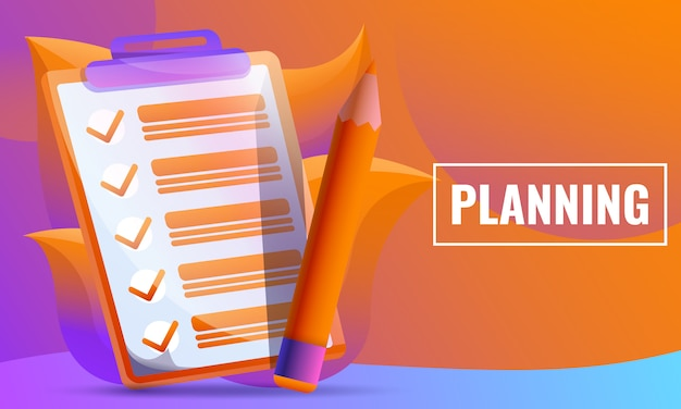 Concetto di progetto di piallatura foglio di controllo e matita Vettore Premium