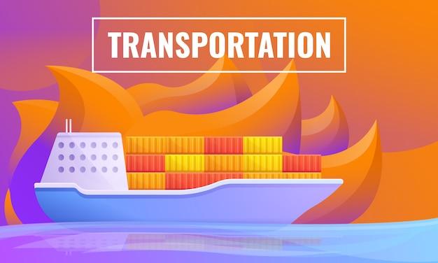 Concetto di design del trasporto dalla nave da carico Vettore Premium