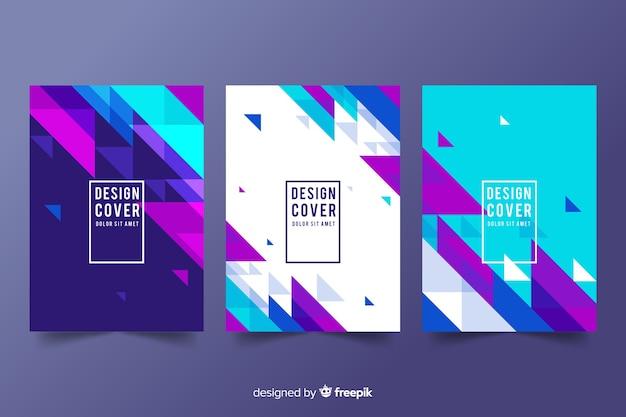 Progetta modelli di copertina con forme geometriche Vettore Premium