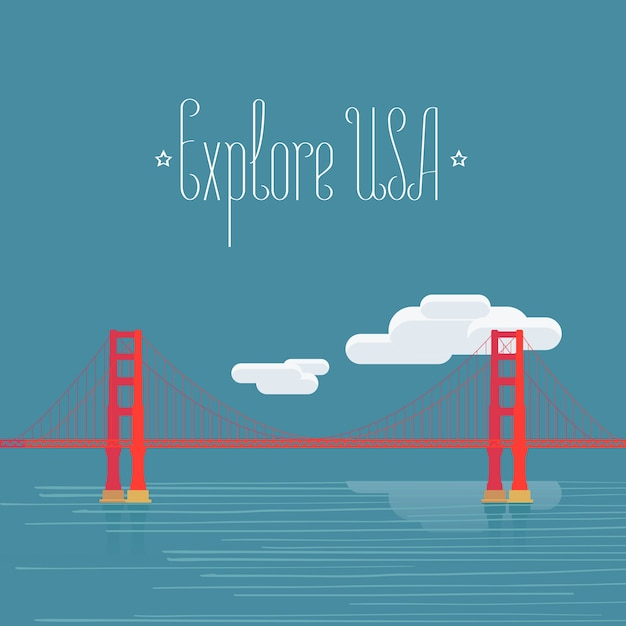 Elemento di design con il famoso punto di riferimento americano golden gate per il viaggio in america concept Vettore Premium