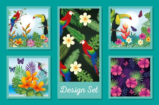 Design set di animali con fiori e foglie tropicali Vettore Premium