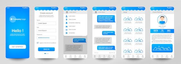Progettazione di set mobile application, ui, ux. Vettore Premium