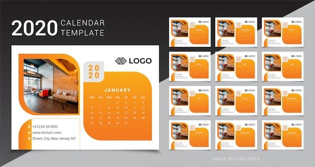 Modello da tavolo calendario 2020 Vettore Premium