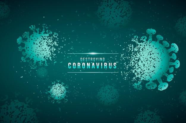 Distruggere lo sfondo del coronavirus Vettore Premium