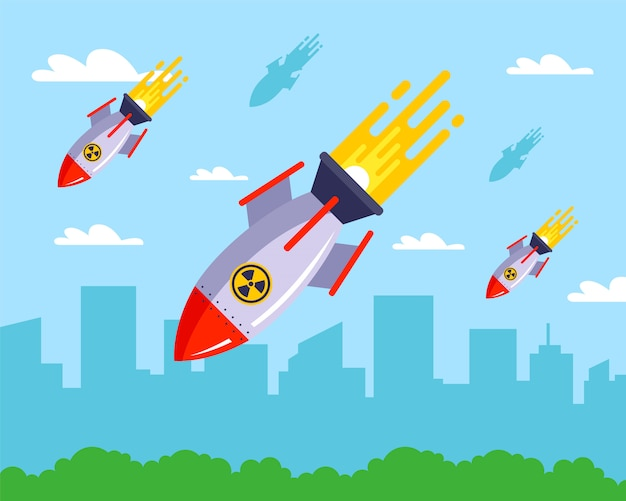 Distruzione di una città pacifica con missili nucleari.   Vettore Premium