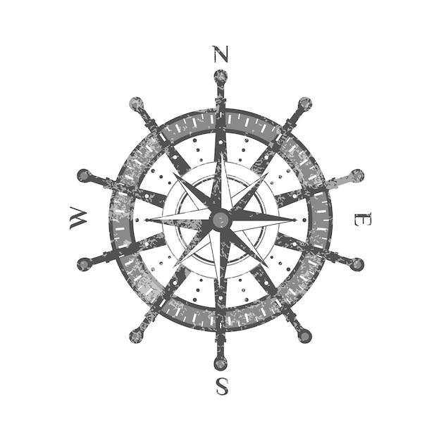 Icona antica dettagliata della rosa dei venti della bussola Vettore Premium