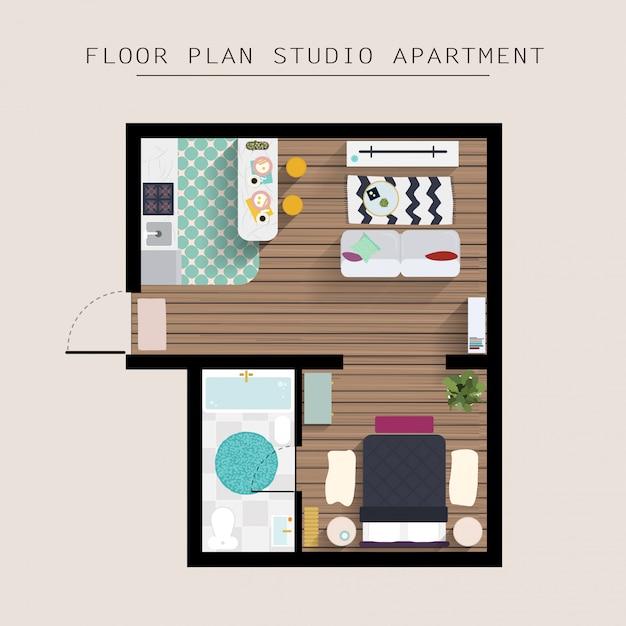 Vista dall'alto sopraelevata della mobilia dell'appartamento dettagliata. appartamento con una camera da letto. Vettore Premium