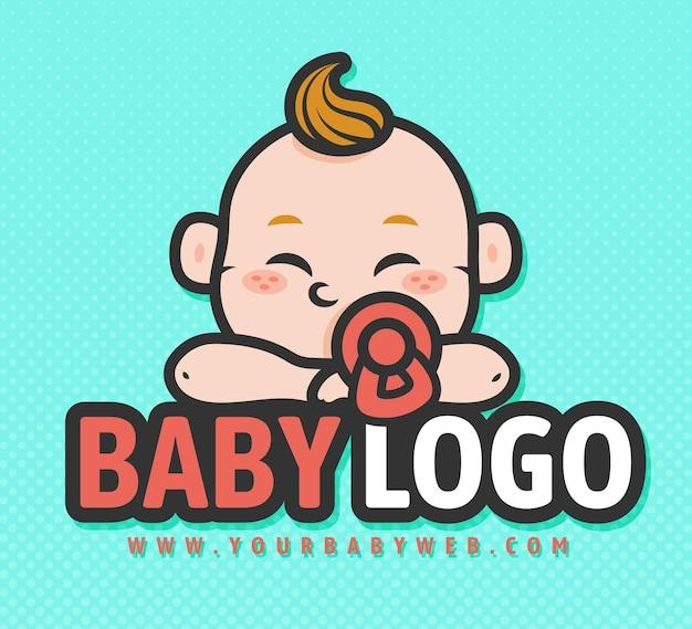 Logo del bambino dettagliato Vettore Premium