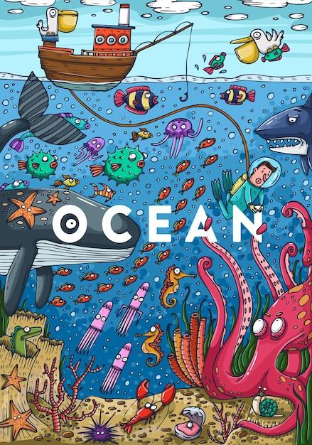 Illustrazione colorata dettagliata. vita marina sott'acqua. illustrazione vettoriale Vettore Premium