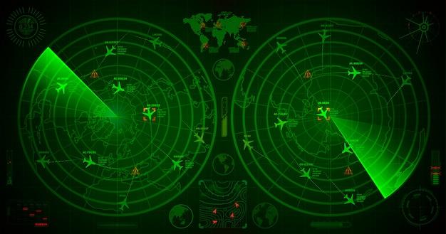 Radar militare dettagliato con due display verdi con tracce di aerei e segni di destinazione Vettore Premium