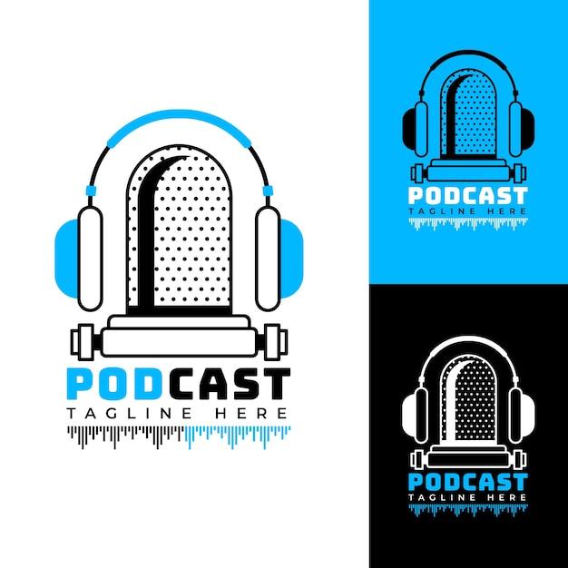 Logo podcast dettagliato con vari sfondi colorati Vettore Premium