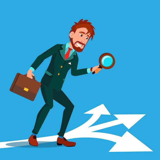 Detective indagare, cercare indizi personaggio dei cartoni animati Vettore Premium