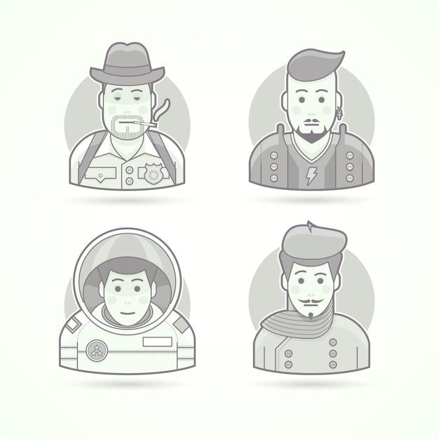 Detective, rock star, astronauta, icone dell'artista. set di illustrazioni di ritratti di personaggi. stile delineato in bianco e nero. Vettore Premium
