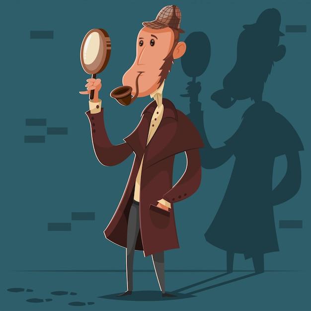 Detective con una pipa da fumo e una lente d'ingrandimento Vettore Premium