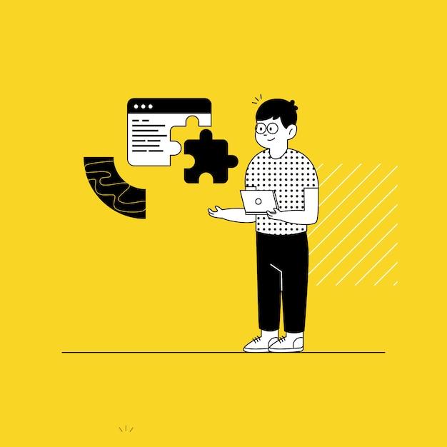 Sviluppa la landing page del sito web Vettore Premium