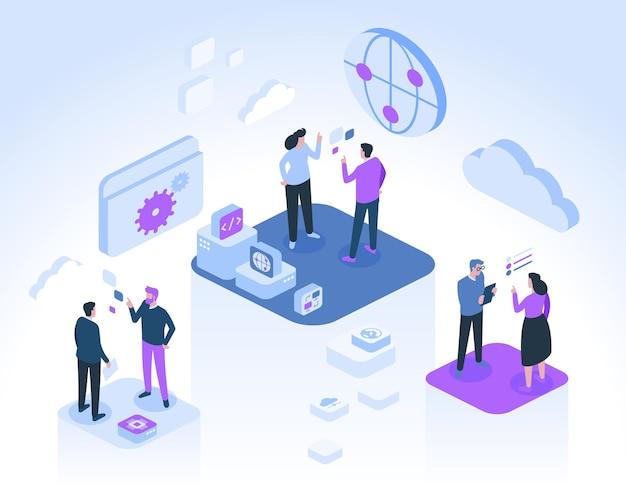 Gli sviluppatori comunicano e lavorano insieme ai progetti. simboli di internet, connessione globale, cloud storage, codifica del programma, dati, tecnologia informatica. Vettore Premium