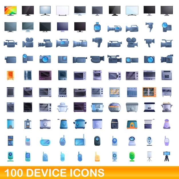 Set di icone del dispositivo. cartoon illustrazione delle icone del dispositivo impostato su sfondo bianco Vettore Premium