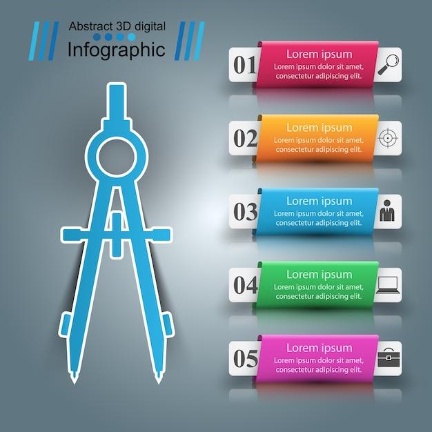 Infografica di carta devider infografica. Vettore Premium