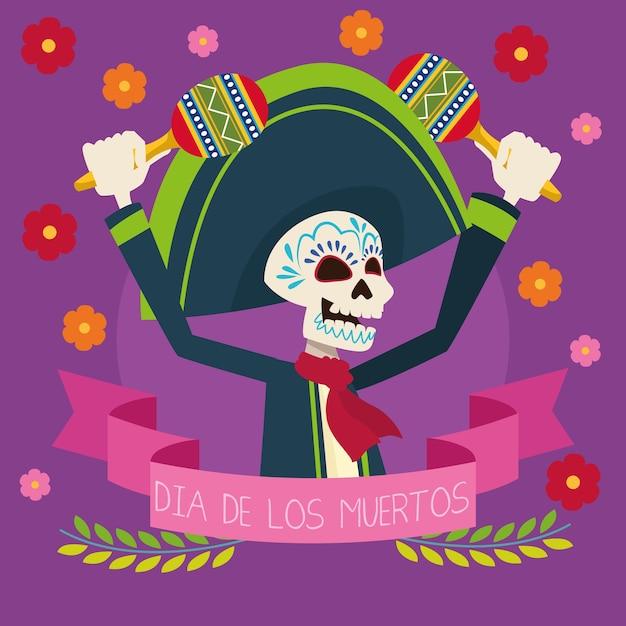 Scheda di celebrazione del dia de los muertos con lo scheletro di mariachi che gioca l'illustrazione di vettore delle maracas Vettore Premium
