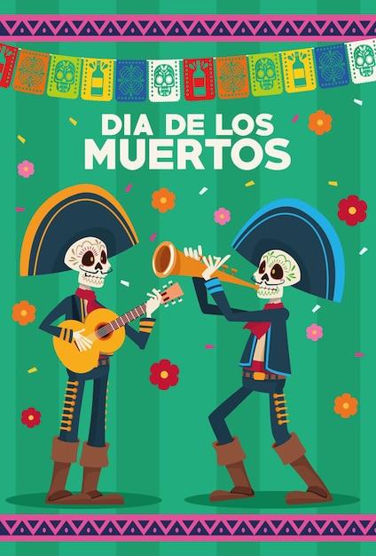 Biglietto di auguri dia de los muertos con scheletri mariachi e ghirlande Vettore Premium