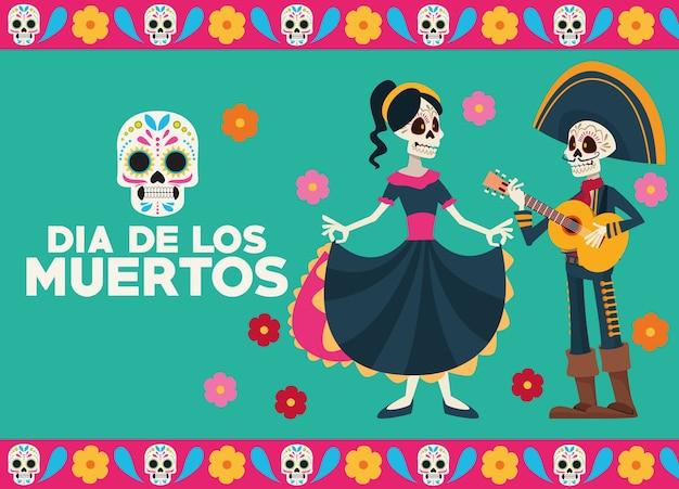 Cartolina d'auguri di celebrazione del dia de los muertos con coppia di scheletri Vettore Premium