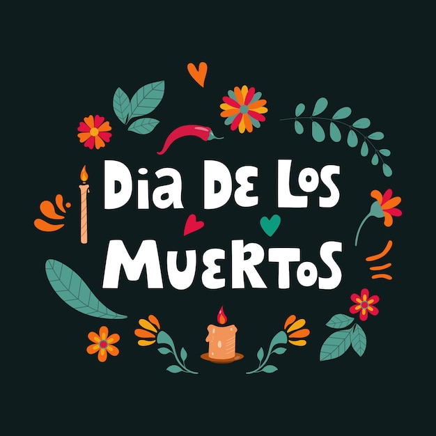 Dia de los muertos, il giorno dei morti lettering di testo spagnolo con decorazioni floreali. illustrazione. Vettore Premium