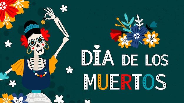 Dia de los muertos. giorno dei morti in spagnolo, tradizionale poster a colori festival messicani con illustrazione vettoriale scheletro femminile Vettore Premium