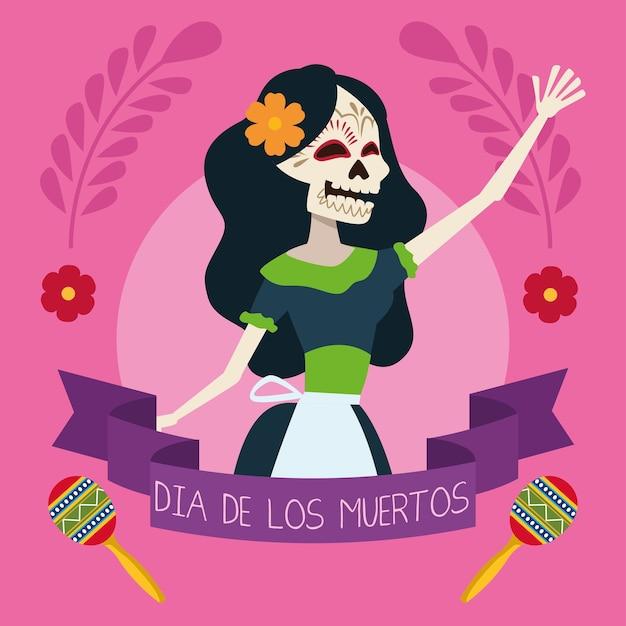 Biglietto di auguri dia de los muertos con scheletro femminile Vettore Premium