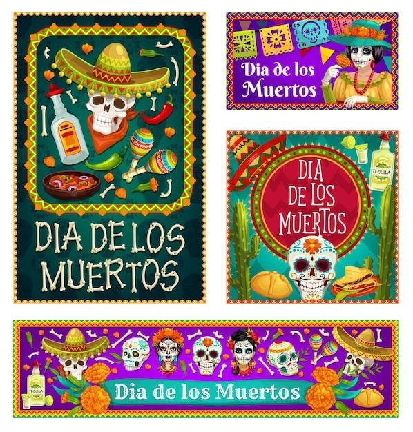 Teschi dia de los muertos e catrina con sombreri e fiori di calendula. teschi messicani del giorno dei morti di zucchero, maracas e tequila, ossa di scheletro, bandiere, pane dolce e cactus Vettore Premium