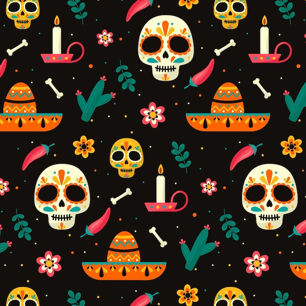 Día de muertos pattern in design piatto Vettore Premium