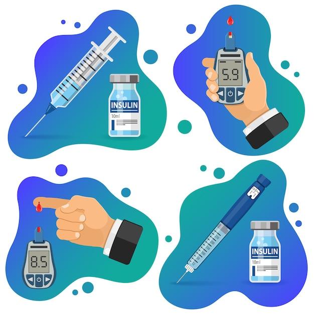 Banner di diabete. misuratore di glicemia e dito con goccia di sangue. Vettore Premium