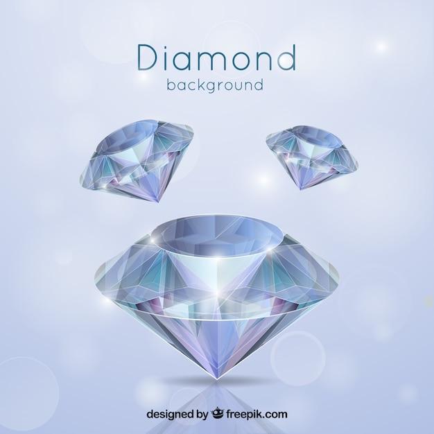 Sfondo di diamanti in stile realistico Vettore Premium