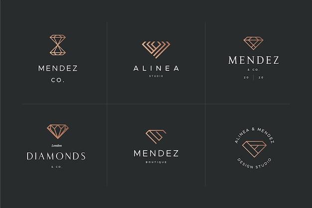Disegno del modello logo diamante Vettore Premium