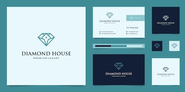 Diamanti e casa. concetti di design astratti per agenti immobiliari, hotel, residenze. simbolo per la costruzione. logo design e modelli di biglietti da visita. Vettore Premium