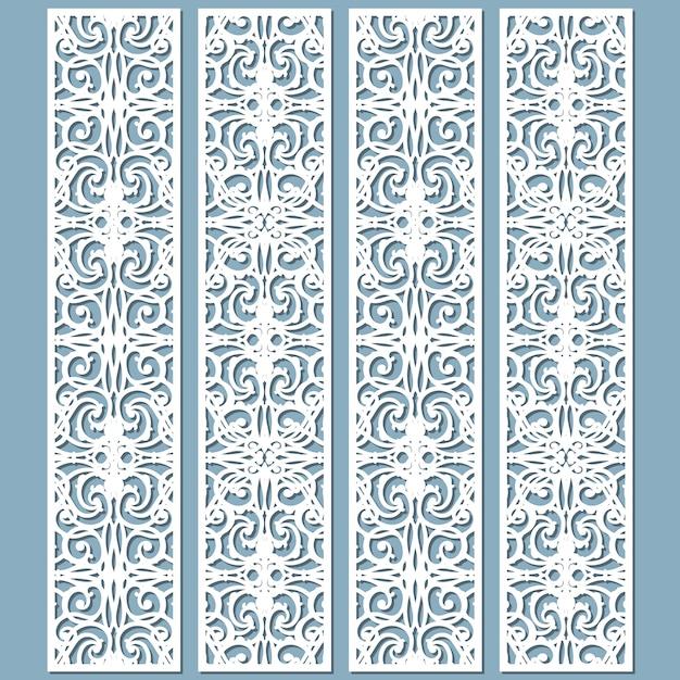 Motivi decorativi per bordi in pizzo fustellati e tagliati al laser. set di modelli di segnalibri. Vettore Premium