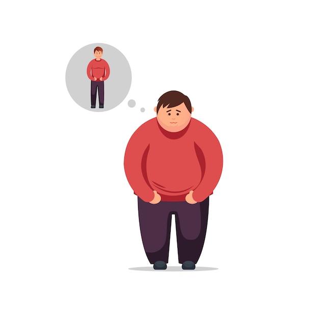 Dieta, alimentazione corretta, piano nutrizionale. giovane design piatto pensa a come perdere peso e diventare magro Vettore Premium