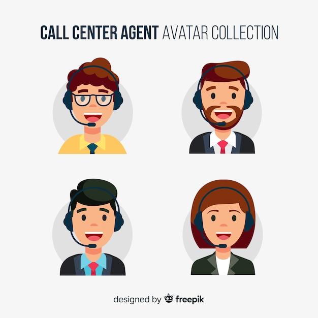 Avatar di call center diversi in design piatto Vettore Premium