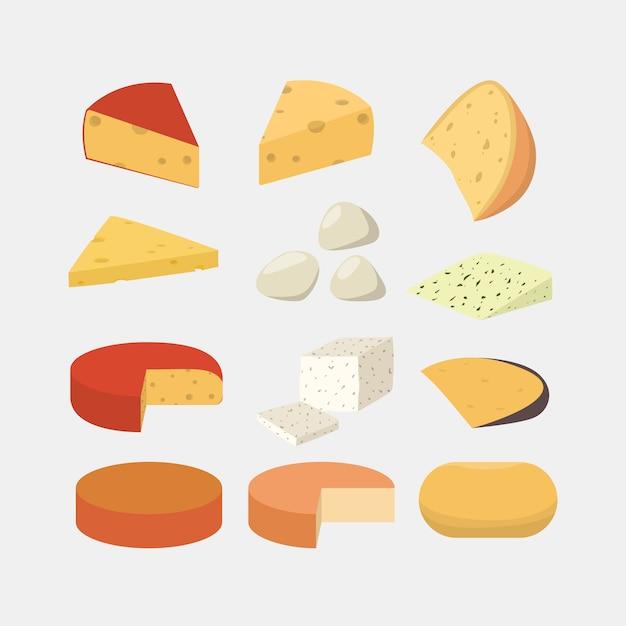 Set di formaggi diversi. gouda e mozzarella, cheddar e parmigiano. Vettore Premium