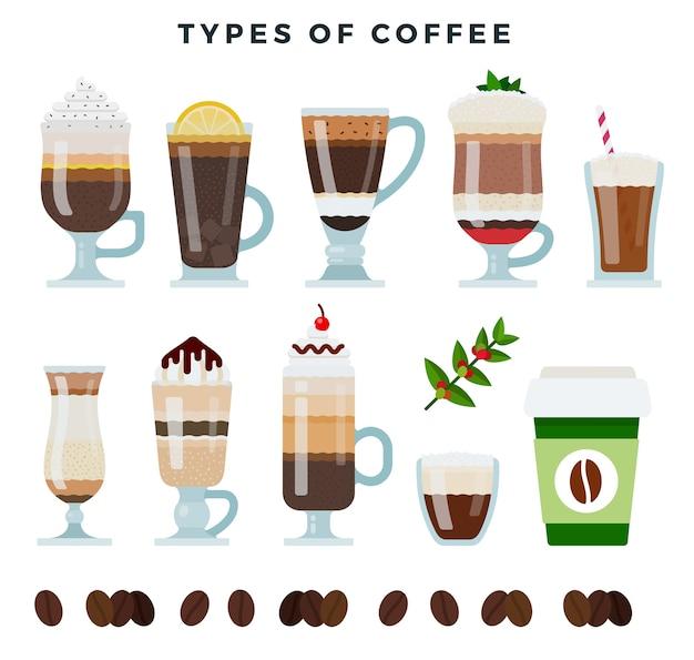Illustrazione di bevande di caffè diverso Vettore Premium