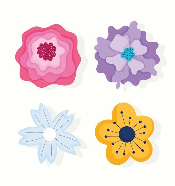 Diversi petali di fiori natura decorazione ornamento icone disegno vettoriale e illustrazione Vettore Premium