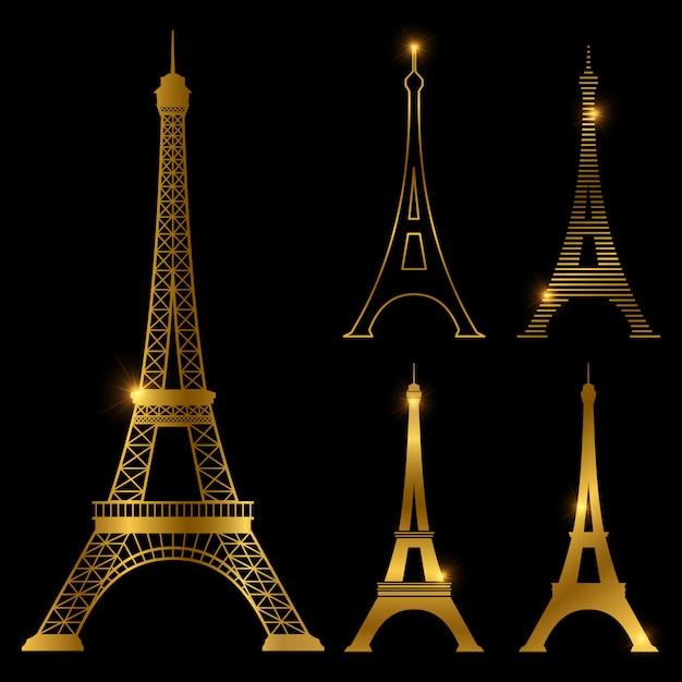 Insieme dorato differente del punto di riferimento di vettore della torre eiffel. parigi Vettore Premium