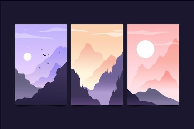 Set di paesaggi diversi Vettore Premium