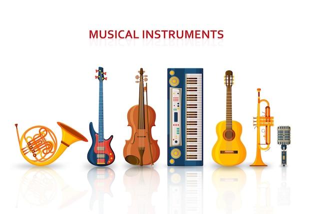 Diversi strumenti musicali isolati su bianco Vettore Premium