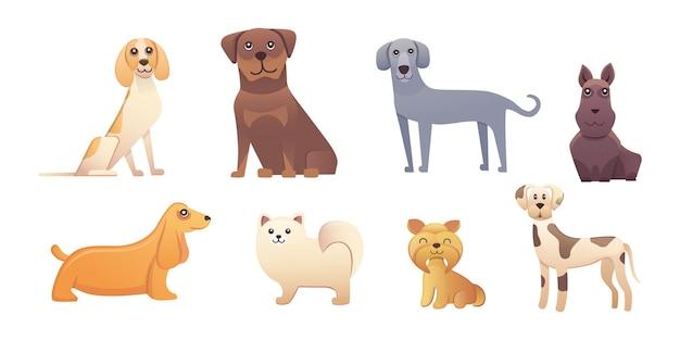 Diversi tipi di cani dei cartoni animati. illustrazione stabilita del cane felice. Vettore Premium